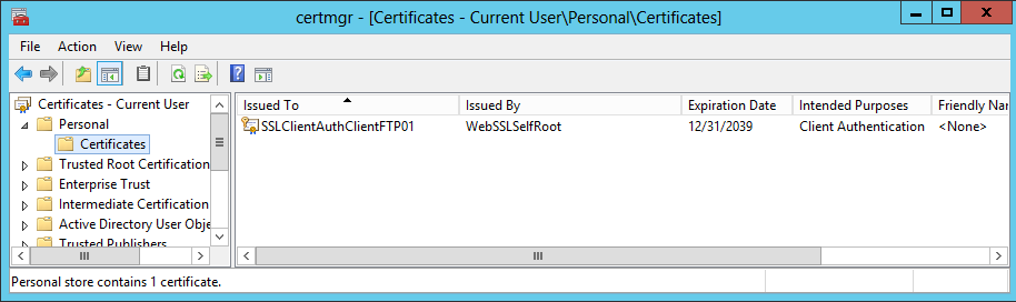 Implement client certificate authentication for FTP on IIS 8